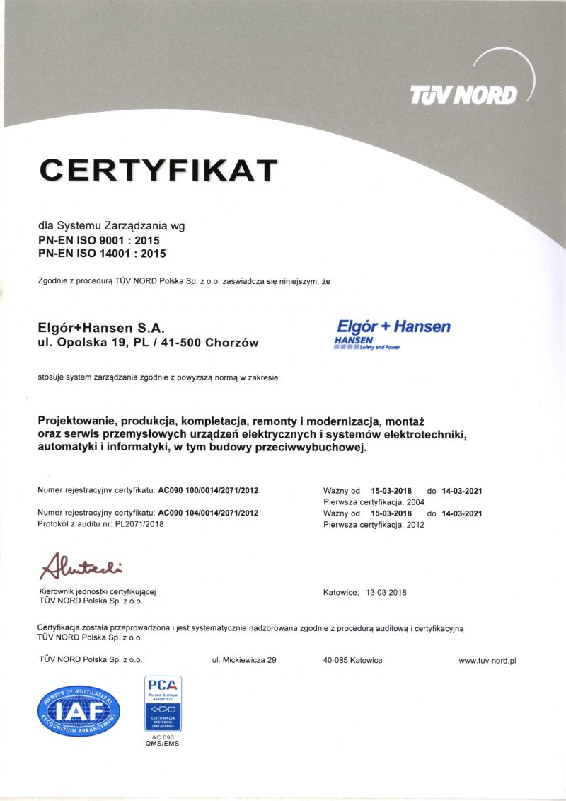 Certificate: ISO 9001 : 2009 14001 : 2005